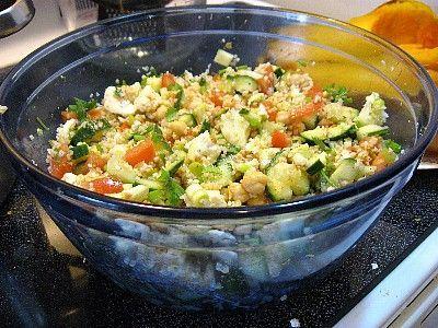 Salad Tabbouleh type Bulgur Garbanzo (1c=110 cals)