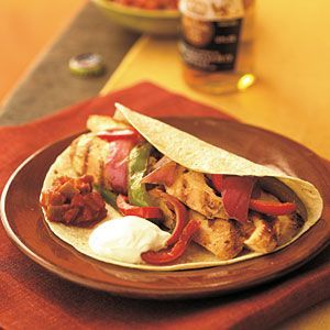 Chicken Fajitas with mexican grilled corn