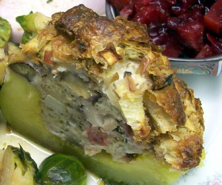 Acorn Squash Stuffed with Croissant, Goat Cheese & Chestnuts