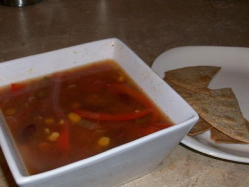 Meal in bowl mexican soup
