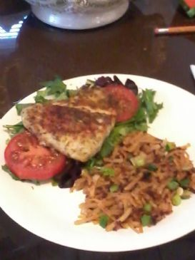Barramundi with hash brown and spring greens