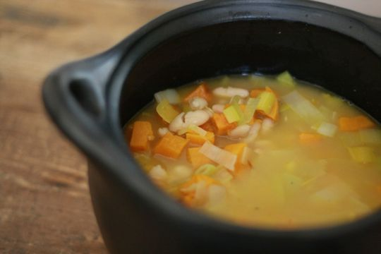 White bean and roasted squash soup