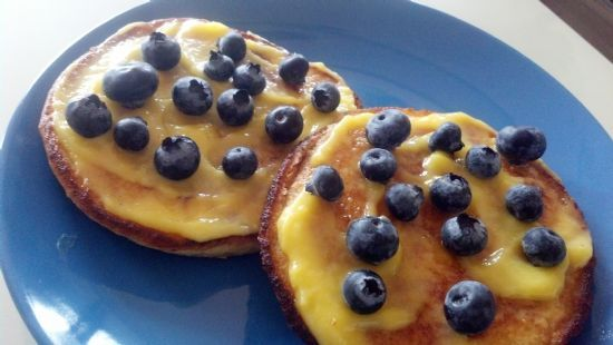 Lemon Curd Blueberry Pancakes