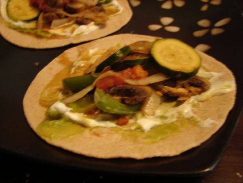 Vegetable Fajitas on Whole Wheat Tortillas