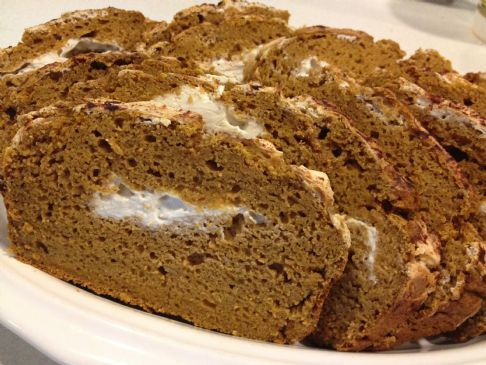 Non-Fat 100% Whole Wheat Pumpkin Bread with Cream Cheese Swirl