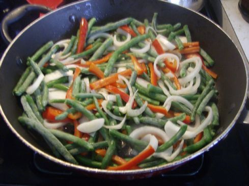 Sauteed green beans, red peppers and onions