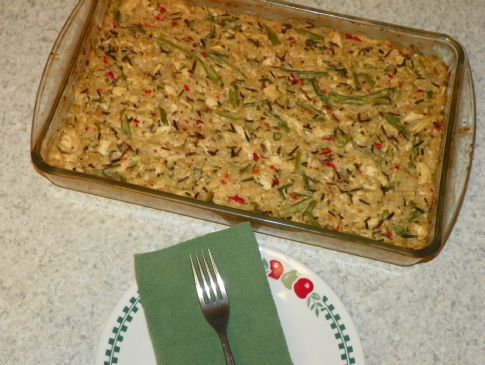Creamy chicken, wild rice and veggie casserole