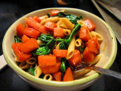 Whole Wheat Penne with Roasted Sweet Potato and Sauteed Spinach