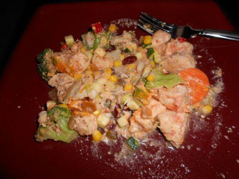 Easy chicken, rice & veggie casserole