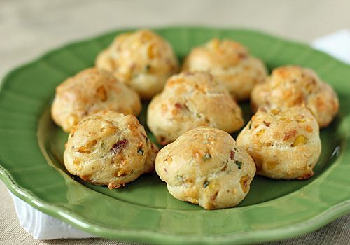 Hickory-Bacon and Roasted-Corn Gougères