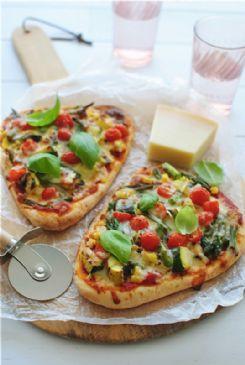 Grilled Veggie Naan Flatbread pizza