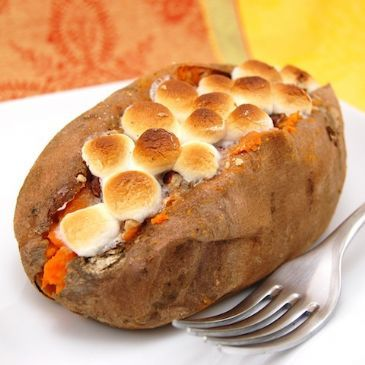 Marshmellow stuffed sweet potatoes