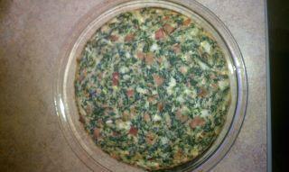 Crustless Ham,Spinach,Swiss and Onion Quiche