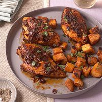 Chipotle-Glazed Chicken with Sweet Potatoes