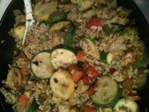 Squashed Stir Fried Brown Rice