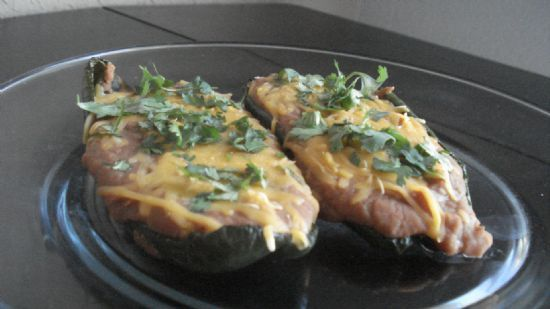 Refried Bean Pablanos with cheese
