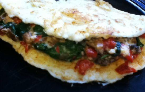 Spinach, Mushroom, Crab omlete