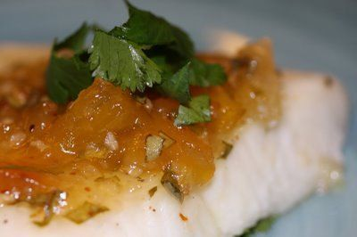 Broiled Sea Bass with Pineapple-Chili Basil Glaze