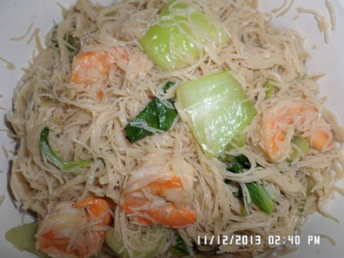 Stir Fry Rice Noodles with Baby Bok Choy and Shrimps Recipe ...