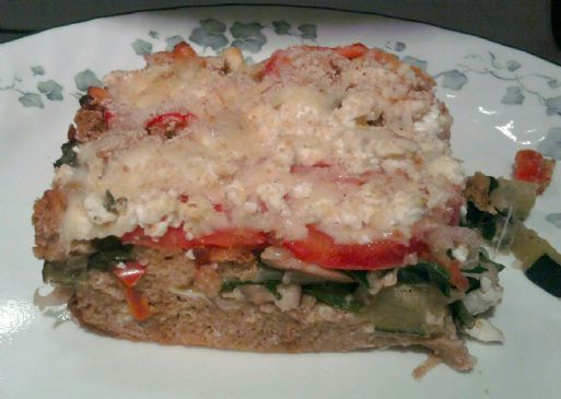 Zucchini, Spinach, Mushroom and Feta Strata Casserole