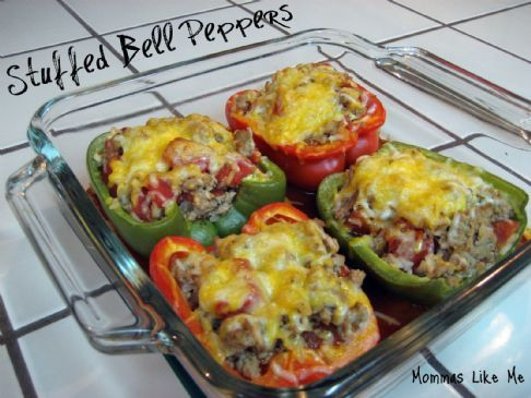 Stuffed peppers with brown rice and turkey