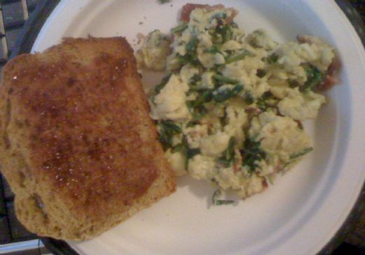 Scrambled Eggs w/ Radish greens and bacon