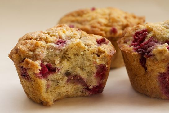 Bulked Up Orange Glazed Raspberry Oatmeal Muffins