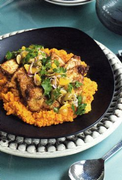 Chicken & Moroccan Carrot Puree w Orange & Olive Salsa