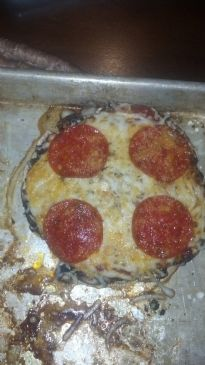 Portabella (used as crust) pepperoni pizza