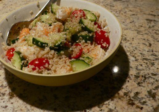 Lemon Quinoa with Shrimp, Cucumber & Tomatoes