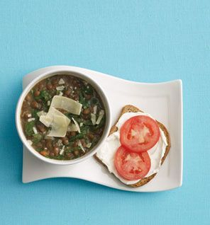 Lentil Soup with Cream Cheese Toast