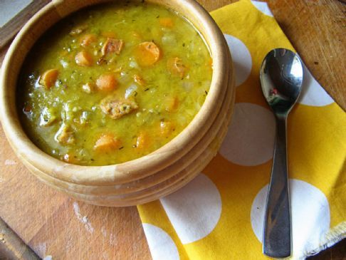 Herbed Split Pea Soup With Chicken Sausage