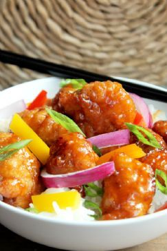 General Tso's Chicken With Pepper & Onions Over Rice