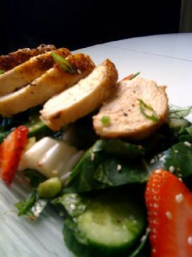 Ginger Chicken and Bok Choy Salad with Cucumbers and Stawberries.