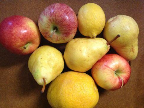 Juice: apple, pear, lemon, orange