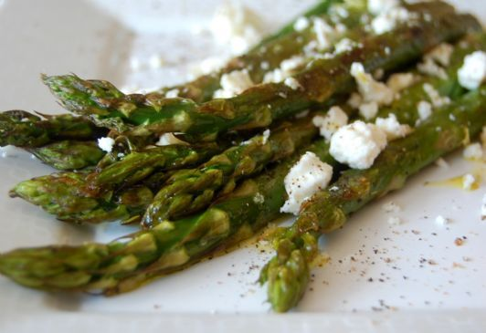 Roasted Asparagus with Feta and Dijon Mustard/Balsamic Vinegar Drizzle.