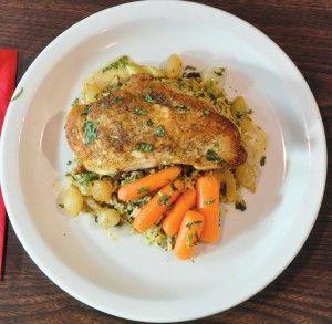 Bittersweet Farm Chicken with glazed carrots