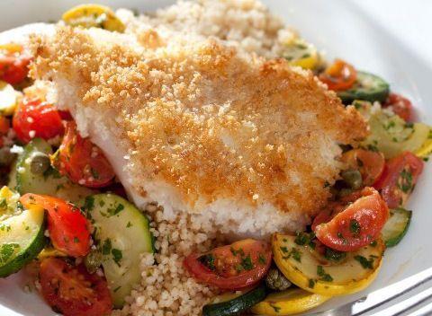 Panko breaded fish with tomato salad recipe sparkrecipes for Fish salad recipes