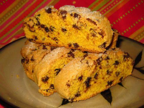 Gluten-free Milk-free Pumpkin Chocolate Chip Biscotti Cookies