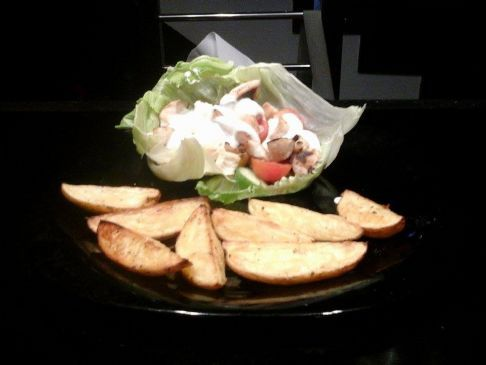 ranch chicken salad with baked potato wedges