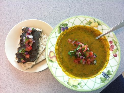 Carrot-Cilantro Soup with Salsa and Black Bean Dip
