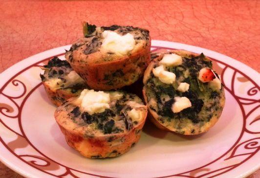 Crustless Bite-sized Mini Quiche with Kale & Feta