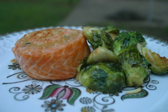 Oil-Roasted Brussel Sprouts (Shown here with Salmon)