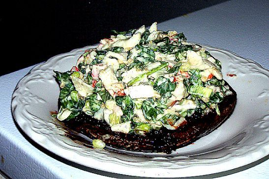 Krab & Spinach Salad on a Large Grilled Portobello Cap