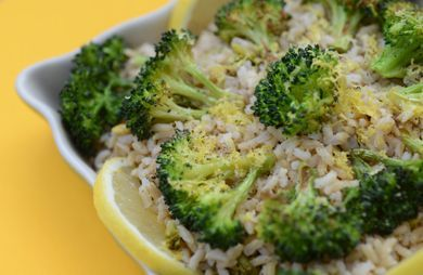 Roasted Broccoli and Lemons with Brown Rice