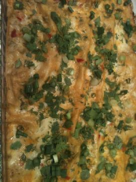 HJ's Red Pepper and Green Chili Chicken Enchilada Casserole