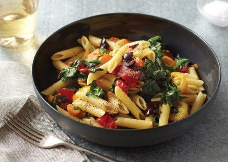 Spinach, Peppers and Cherry Tomatoes with Penne Rigate