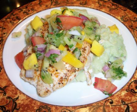 Mango Salsa Chicken with avocado mashed potatoes