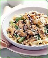 Bow Tie Pasta with Wild Mushrooms, Baby Spinach and Pine Nuts