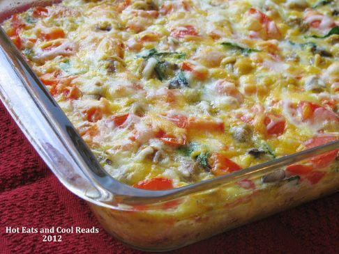 Spinach, Tomato, and Swiss Cheese Egg Bake